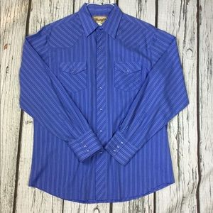 Wrangler Men's Purple Pearl Snap Western Shirt L